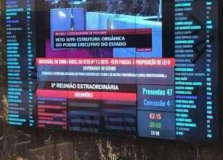 Painel eletrônico do plenário registra a presença, às 11h20, de 47 deputados