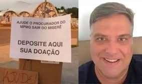 """Promotor Leonardo Azeredo, que reclama de salário de R$ 24 mil. À esquerda, internauta brinca e pede """"ajuda"""" para complementar salário do promotor."""