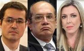 Deltan Dallagnol (esq.), ministro Gilmar Mendes e procuradora Thaméa Danelon, no centro de mais uma denúncia da Vaja Jato.