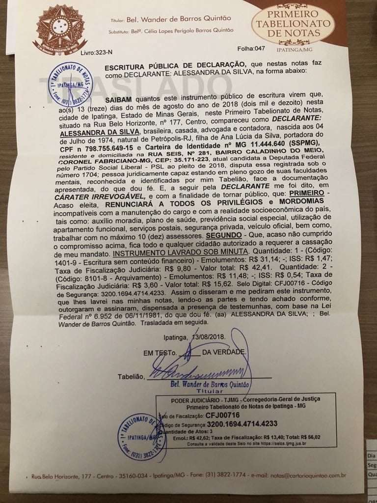 Escritura Pública registrada pela então candidata Alê Silva no dia 13 de outubro de 2018 em cartório de Ipatinga