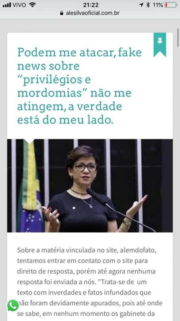 Reprodução de site da deputada Alê Silva (PSL-MG)