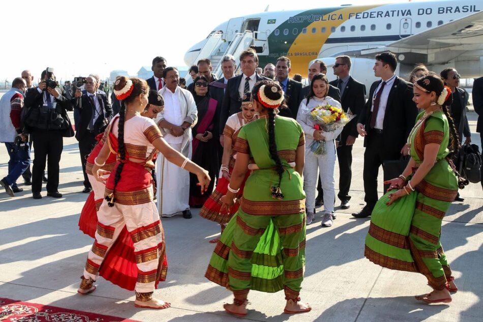 """Presidente Bolsonaro, ao desembarcar hoje na Índia, disse que há """"chance zero"""" de recriar o ministério da Segurança Pública """"no momento. Foto - Clauber Cleber Caetano/PR"""
