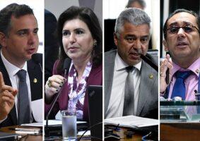 Senadores Rodrigo Pacheco (MG), Simone Tebet (MS), Major Olímpio (SP) e Jorge Kajuru (G0) disputam a presidência do Senado. Foto - Geraldo Magela/Agência Senado