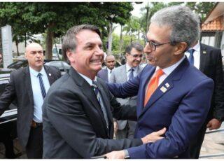 Presidente Bolsonaro e governador Romeu Zema (dir.); mineiro sinaliza que quer presidente como principal cabo eleitoral. Foto - Presidência da República